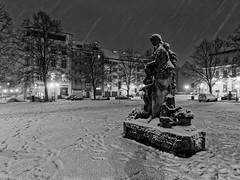 Winter - White eagle square, Stettin, Poland. (TomasLudwik) Tags: zima winter snieg snow storm plac orla bialego szczecin stettin bw blackandwhite
