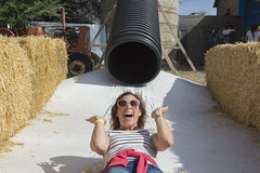 Shot Out of the Silo Slide (aaronrhawkins) Tags: silo slide heehawfarms farm ride pipe hay kellie bale tractor laugh smile surprise thrill excitement fall halloween harvest aaronhawkins pleasantgrove utah