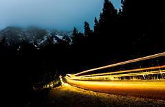 Shuttle bus heading up Mount Norquay (christianstapor) Tags: lighttrails fujifilm fujifilmxt10 xt10 xf1855mm mirrorless night nightscaping nightphotography nightscape banff banffnationalpark mountnorquay canada alberta