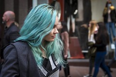 Feeling Blue (Leanne Boulton) Tags: people urban street candid portrait portraiture profile streetphotography candidstreetphotography candidportrait streetlife young woman female pretty girl face facial expression beauty beautiful gorgeous blue hair aqua turquoise colorful colourful style stylish fashion tone texture detail depthoffield natural outdoor light shade shadow city scene human life living humanity society culture canon 7d 50mm colour color glasgow scotland uk