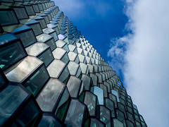 Harpa glass (Suho_Ja) Tags: harpa reykjavik iceland blue sky glass windows window building corners lines bold reflection light olympus m43 urban travel perspective