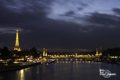 Night lights under a dark sky (Lonely Soul Design) Tags: paris eiffel tower light cityscape night long exposure contrast bridge alexandre iii
