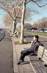 Benches (dtanist) Tags: new york city nyc newyorkcity newyork film brooklyn analog zeiss bay sitting kodak row ridge contax shore carl promenade g1 100 benches occupied 45mm narrows planar ektar carlzeiss