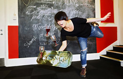 Falling (Anatoleya) Tags: girl glasses wine falling tray balance redwine spill spilling spillage dropping topple