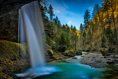 The Falling (swPicture) Tags: autumn nature water forest switzerland waterfall valley waterscape tss kantonzurich