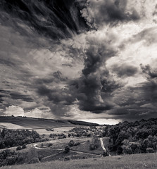 Millington storm clouds - split-toned (Mister Electron) Tags: blackandwhite bw storm monochrome weather clouds landscape cloudy yorkshire pasture toned pocklington eastyorkshire millington splittoned millingtonpastures nikond800