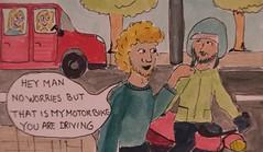 Extremely Laid back (Teku Teku) Tags: england memories motorbike cartoons easygoing