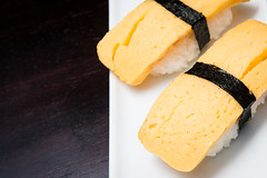 tamago nigiri (peach.tea) Tags: food canada seaweed yellow sushi yummy winnipeg rice egg manitoba delicious foodporn nigiri tamago