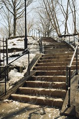 Waterfall (pop archaeologist) Tags: park city nyc winter newyork film vertical brooklyn waterfall spring kodak f90 staircase prospectheights easternparkway thaw nikonn90 meltingice ultramax400 mountprospectpark