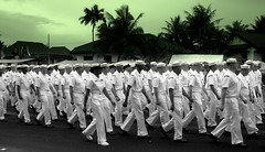 Doom and Gloom, Still Onward (Ken Cruz --- Fernweh) Tags: usnavy sailors liberationparade onward dixiecup greentint marching leftrightleft marchon marinedrive military worldsfinest insync formation militarypresence presence usterritory pacificisland micronesia parade chamorrovillage selectivecolor dresswhites