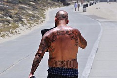 Tats (AntyDiluvian) Tags: california shirtless man guy beach tattoo strand la losangeles bald shavedhead redondo westcoast tat redondobeach