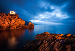 Corse 054 (arsamie) Tags: blue sunset red sea sky orange france tower water rock night clouds dark island bay long exposure mediterranean gulf corse porto late after defense calanque piana calanche