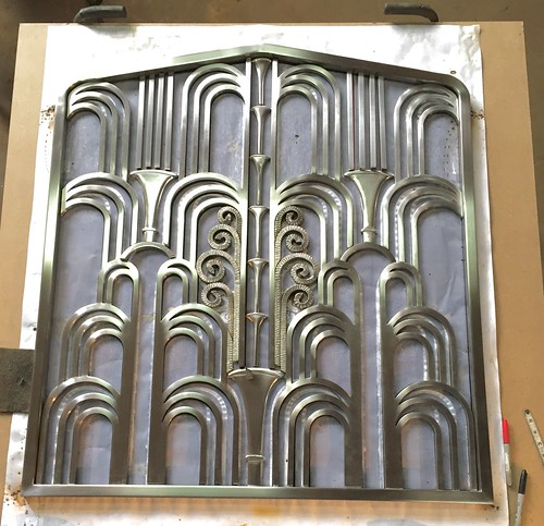 ART-DECO Stainless Steel Fireplace Screen- being prepped to TIG weld to  attach to - Flickriver: Most Interesting Photos Tagged With Artdecofireplacescreen