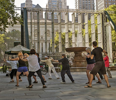 I think most of these people were just walking by and joined in (cbonney) Tags: park new york exercise manhattan tai chi bryant