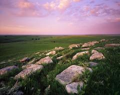 Sunrise over the Flint Hills (AlexBurke) Tags: green film rock sunrise landscape large hills velvia kansas 4x5 format flint fui