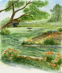 Jardin fleuri (ybipbip) Tags: flowers tree fleur garden watercolor painting weed paint aquarelle peinture watercolour acuarela arbre pintura herbe aquarela aquarell potager acquerello akvarell