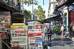 Newsstand on the Boulevard Saint-Germain (AntyDiluvian) Tags: street trip paris france boulevard newspapers newsstand magazines boulevardstgermain 2015 boulevardsaintgermain