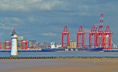 MSC Santhyia (PA) (Kay Bea Chisholm) Tags: beach sand newbrighton lighthouse lifting cranes red rivermersey liverpool port ship container scanthyia msc
