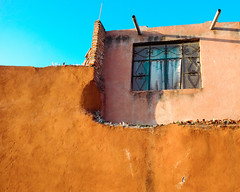 Room with a View (Maria Sciandra) Tags: blue sky orange texture window mexico curtain sanmigueldeallende weathered colonialmexico fujifilmx100 mariasciandraphotography mariasciandracom