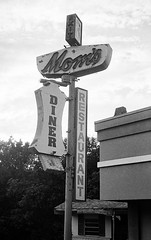 Mom' Diner (Dalliance with Light) Tags: bw building abandoned film sign us newjersey unitedstates decay nj diner moms ilfordhp5 signage olympus35sp hightstown whatexit exit8