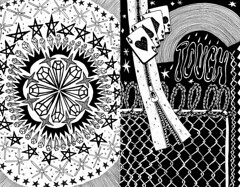 Lust and Diamonds (leannaperry) Tags: leanna perry art artist design designer illustration draw drawing sketch sketchbook artists flickr black white diamonds trust lust touch ace spades cards hearts poker barbed wire dark emo goth eerie mandala pattern