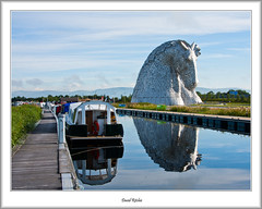 Kelpies And Canal (flatfoot471) Tags: 2015 boats canal falkirk forthandclydecanal forthvalley normal scotland sculpture stirlingshire summer thekelpies unitedkingdom stirlinghshire