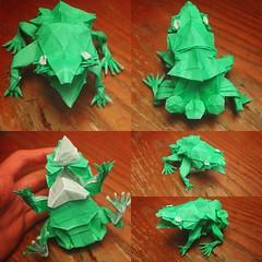 Toadstool Frog (M.Novio) Tags: frog amphibian reptile origami paper folding super complex detail green color change art