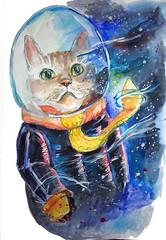 Gato espacial/ space cat (taniasaqu) Tags: space cat espacio gato astronaut astronauta cosmonaut cosmonauta universe universo stars eyes ojos cosmos watercolor acuarela