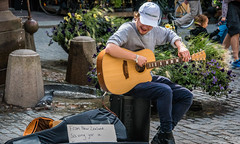 2016 - Baltic Cruise - Stockholm - I'm Challenged (Ted's photos - For Me & You) Tags: 2016 cropped stockholm sweden tedmcgrath tedsphotos vignetting stockholmsweden pigeon bird guitar guitarplayer 6stringguitar bollards male man boy entertainer musician busker streetscene ballcap teeth dents
