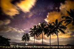 Milky Way Window (James Whitlock Photography) Tags: australia queensland portdouglas milky way galaxy star cosmic nebula long exposure palm tree midnight night beach illumination cloud rokinon 24mm nikon d810 nightscape landscape mountain planets moon amaing