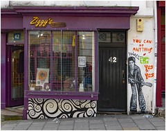 Ziggy Played Guitar (donbyatt) Tags: brighton shop streetphotography davidbowie ziggystardust streetart graffiti mural