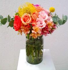 pink & orange centerpiece (Floreria Zazil) Tags: centerpieces cancunweddings mayanrivieraweddings beachweddings cancunweddingsflowers cancunflorist