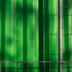 (morbs06) Tags: abstract architecture colour container fence green light lines minimal pattern shadow square streets stripes dsseldorf