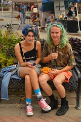 A colorful pair (radargeek) Tags: okc oklahomacity plazadistrict plazafest 2016 bluehair converse chucks