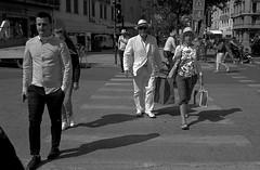 The Man (bingley0522) Tags: bessar2a canon35mmf20ltm tmax400 hc110h epsonv500scanner verona crosswalk fashionista