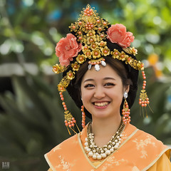 Traditional Dress (BAN - photography) Tags: flowers smile beads jewellery traditionaldress headwear prettywoman chineselady
