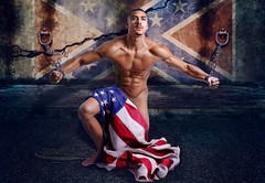 -Old Sentiment - (Ismael Barrera - DIGISNAPSTUDIO) Tags: old usa man feet composite oregon pose dark photography freedom chains arms photos antique flag political antiguos statement africanamerican actor torso salem emotions abs share hombre sentiment equality composites malemodel confederateflag copyrighted abdominals implied politicalstatement darkskin malefeet impliednude facialfeatures modelmayhem ismaelbarrera digisnapstudio