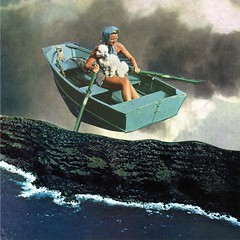 page 8 (back cover) 'in search of a future' (tjager) Tags: sky woman art collage analog boat search ship time surreal journey poodle future unknown quest livingferal