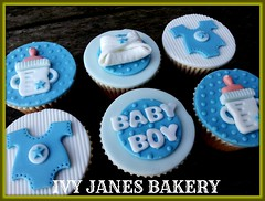 BABYBOY CUPCAKES (Ivy Jane's Bakery) Tags: blue boy cake cupcakes bottles nappy diaper nappies babyshower babyboy babygro