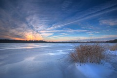 Iced Over - Stafford Forge WMA (reclaimednj) Tags: sunset lake ice water newjersey nj oceancounty 2015 eagleswood canon6d staffordforgewma