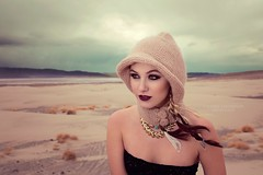 Wanderer (Valerie Thompson Photography) Tags: sky beauty fashion clouds photoshop canon photography 50mm model eyes photographer photoshoot desert fashionphotography nevada creative makeup windy blonde hood create braids reno onlocation wanderer cloudysky beauiful sandmountain renonevada goldnecklace eidt canon6d renomodel renophotographer valeriethompsonphotography renoportraitphotographer