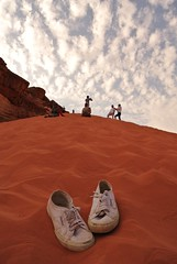 Someone's shoes, Wadi Rum, Jordan (mistery_t) Tags: red sky cloud white shoes desert wadirum jordan