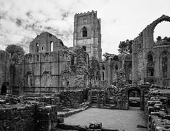 Fountains Abbey [Explored March 2nd - '15] (Matty3126) Tags: uk blackandwhite bw ruins decay panasonic fountainsabbey g3 nationaltrust lumix1445mm