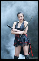 nEO_IMG_DP1U5109 (c0466art) Tags: show morning light portrait girl beautiful female canon pose cool nice eyes asia pretty fighter action smoke taiwan figure sword effect plat role 1dx c0466art