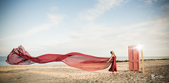 Red. (Simon Rich Photography) Tags: door red sea portrait beach canon pose coast model pretty dress fabric frame coastline elegant floaty simonrich mrmonts simonrichphotography