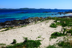 White Sands and Turquoise Seas. (wivvy is getting there.) Tags: x100s sand sea seascapes scotland iona sky blueskies turquoisesea whitesand beach grass holidays