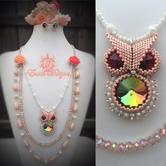 Now this has a complete set. Luv doing the owls salmon/corrals... (ExoticDesigns) Tags: delicas seedbeads beadweaving beadwork beadedowl