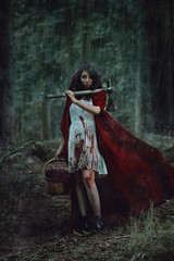 Brave (Megan Glc Photographe) Tags: trees red water stain rain fairytale photomanipulation photoshop blood woods dress surreal riding fairy onceuponatime rainy weapon axe warrior hood brave editing magical tale intothewood