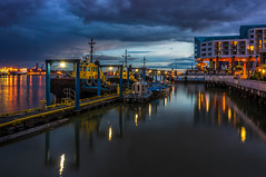 New Westminster Quay (rdpe50) Tags: lighting longexposure sky urban night clouds landscape boats lights evening dock bc waterfront quay bluehour newwestminster