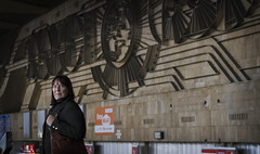 (The New Motive Power) Tags: city urban sculpture art station wall architecture modern train design mural sofia steel bulgaria modernist brutalist centralrailwaystation българия софия canon7d